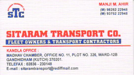 Sitaram Transport Co. Kandla-kutch